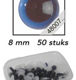 Le Suh Veiligheids Ogen blauw 8mm 50st