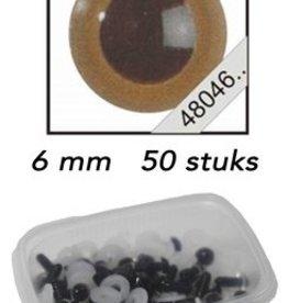 Le Suh Veiligheids Ogen mokka 6mm 50st