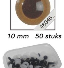 Le Suh Veiligheids Ogen mokka 10mm 50st