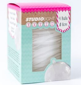 Studiolight CHRISTMAS BALLS (4) WHITE PLASTIC WITH HOLE FOR LAMP