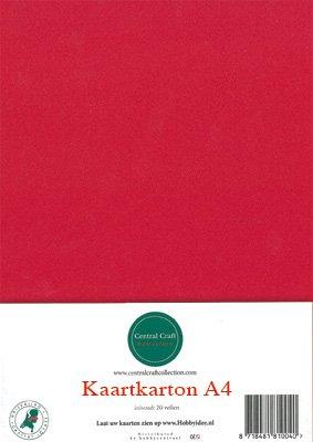 Hobbycentraal A4 Kaartkarton  10 vel  rood