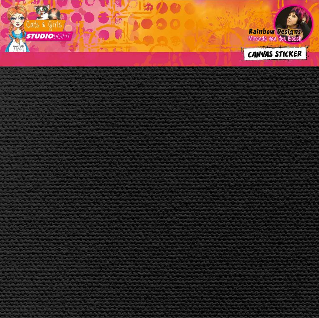 Studiolight 2 sheets Black self adhesive canvas Rainbow Designs 02