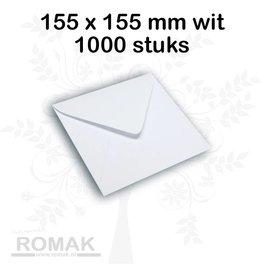 Enveloppen 100 grams 155 x 155 mm wit 1000 stuks