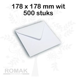 Enveloppen 100 grams 178 x 178 mm wit 500 stuks