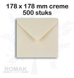 Enveloppen 100 grams 178 x 178 mm creme 500 stuks