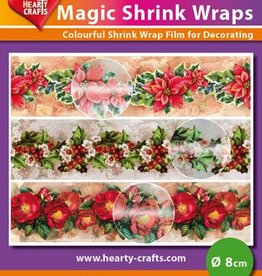 Hearty Crafts Magic Shrink Wraps, Metalic,X-mas Flowers(⌀ 8 cm)