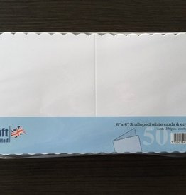 "Craft UK Limited 6"" x 6"" Scalloped white cards & envelopes"