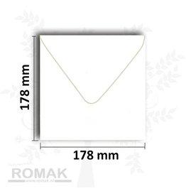 Konvolutter kvadratisk 178x178 mm hvid