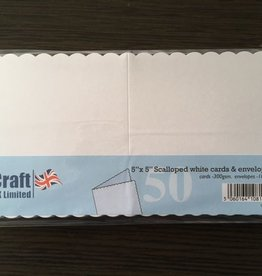 "Craft UK Limited 5"" x 5"" Scalloped white cards & envelope"