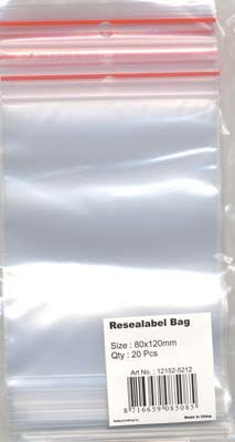 Hobby Crafting & Fun Resealable bag with round hole, transparent, 80x120mm, 20pcs/ bag