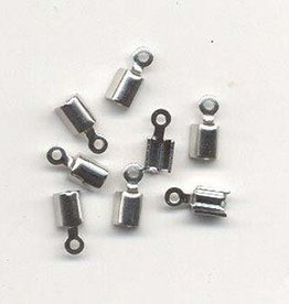 Hobby Crafting & Fun Cord clasp small 5x3mm, Platinum, 8pcs/bag