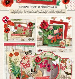 Studiolight Stansblok A4, content 12 sheets die cut, Pretty Poppy nr.65