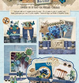 Studiolight Stansblok A4, content 12 sheets die cut, Denim Blues nr.67