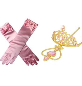 Prinsessen accessoire set - kroon, staf, handschoenen - roze