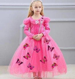Prinsessenjurk - vlinders  -ROZE - + gratis kroon EN staf