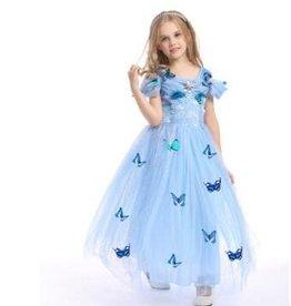 Prinsessenjurk- KORTE MOUW -vlinders - BLAUW -gratis kroon EN staf