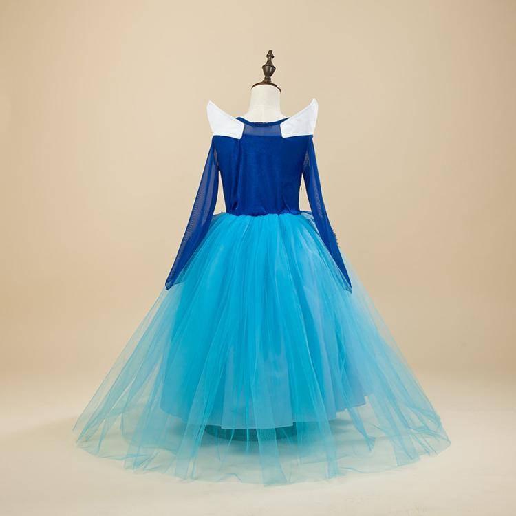 Prinsessenjurk - luxe - BLAUW  + gratis kroon EN staf  -  maat 98, 104/110, 110/116, 122/128, 134/140