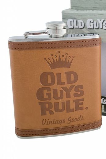 Old Guys Rule Stacked Tan Hip Flask
