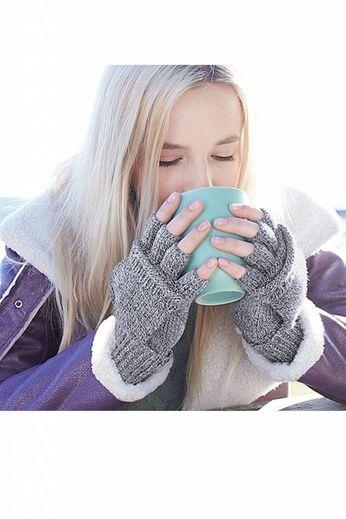 Beechfield Beechfield Fliptop Gloves - Heather Grey