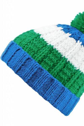 Beechfield Chamonix Beanie Hat Sapphire/Kelly/White