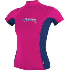 O'Neill Wetsuits Girls Skins Rash Vest BERRY/NVY/BERRY S/S