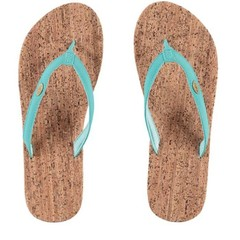 O'Neill Clothing Cork Bed Flip Flops Turquoise