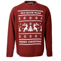 Old Guys Rule Reindeer Jumper Burgundy