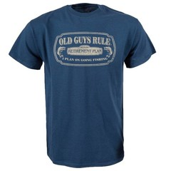Old Guys Rule Fishing In Retirement T-Shirt Blue Dusk