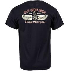 Old Guys Rule Vintage Motorcycles Back Print T-Shirt Black