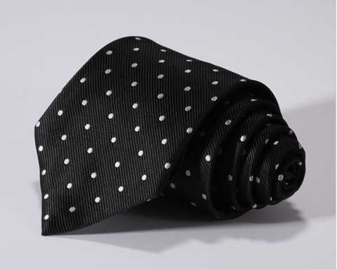 English Fashion Black Tie with Pocket Square - Polkadot