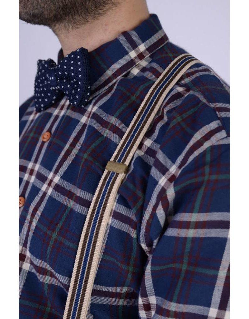 English Fashion Bretels Blauw met Creme gestreept