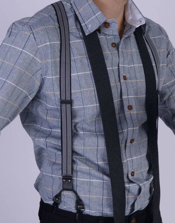 English Fashion Zwarte Bretels met pinstripe en 6-clips