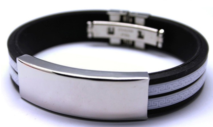 English Fashion Heren Armband - Wit Rubber Stainless Steel