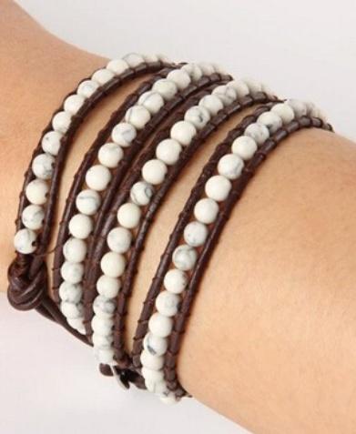English Fashion Wrap bracelet white Turquoise