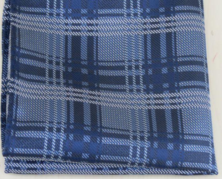 English Fashion Pocket Square Blue Checkered
