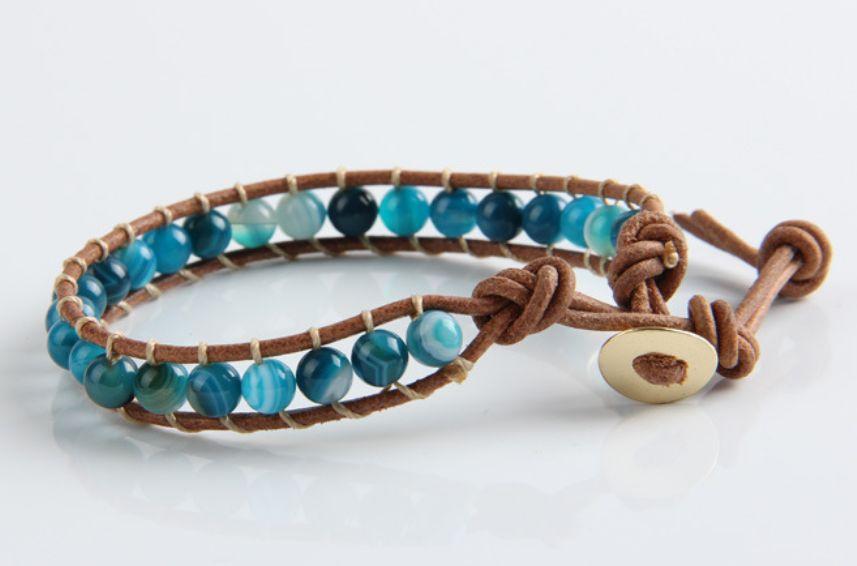 English Fashion Leren Wrap Armband Blauw Agaat - Man