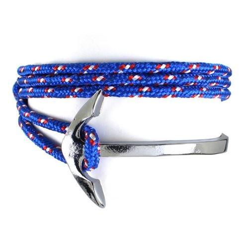 English Fashion Wrap Bracelet Fishhook and Rope - Blue