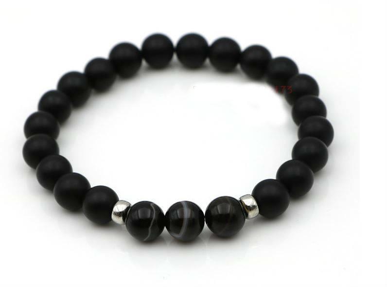 English Fashion Plain Onyx stone bracelet