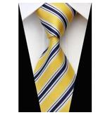 English Fashion Dunne Power Tie Geel Gestreept