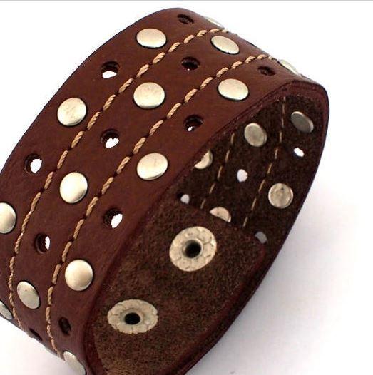 English Fashion Brede Leren Heren Armband