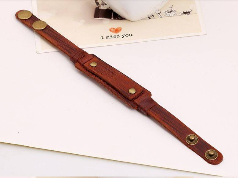 English Fashion Stoere Leren Wristband voor mannen