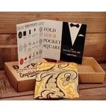 English Fashion Pocket Square - big flowers yellow