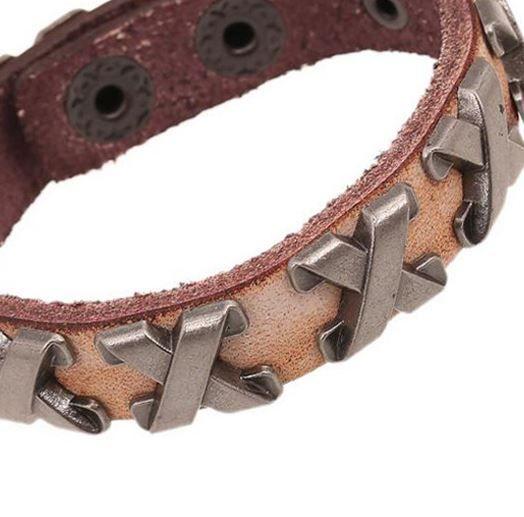 English Fashion Leather Bracelet with metal Cross