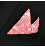 English Fashion Pocket Square Pink Paisley