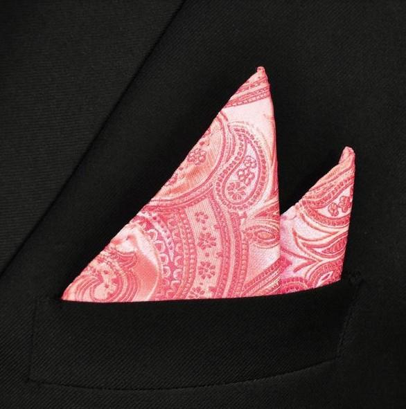 English Fashion Pochet Roze met Paisley Patroon