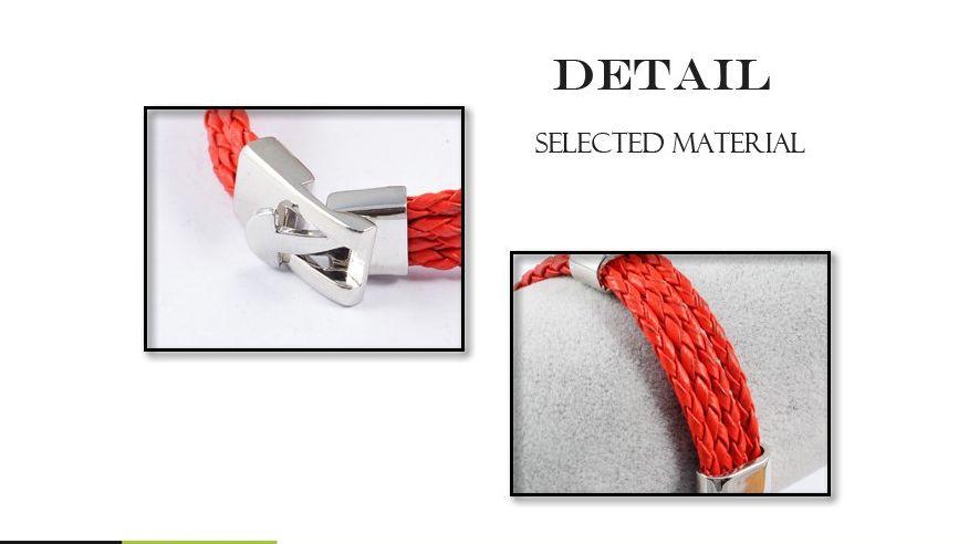 English Fashion Leather Men's Bracelet Red