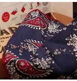 English Fashion Katoenen Pochet Blauw Paisley met rode Rand
