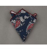 English Fashion Cotton Blue Paisley and red pocketsquare