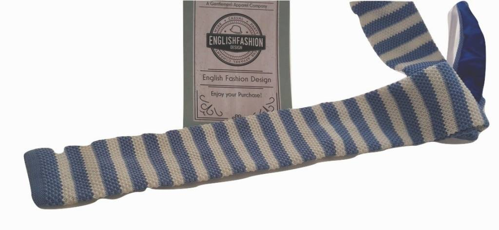 English Fashion Gehaakte Stropdas Licht Blauw