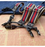 English Fashion Bretels met Klemmen en Strepen 3-kleurig